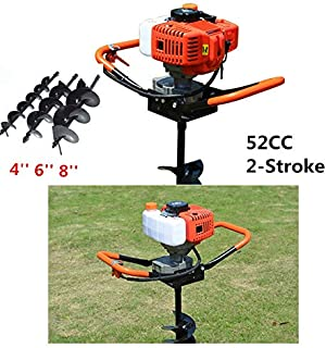 52CC Petrol Gas Powered Post Hole Digger Earth Auger 2.4ps 2-Stroke with 3pcs Earth Auger Drill 3 Bits 4
