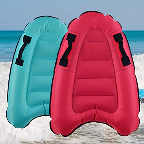 4 EVER Inflatable Surf Body Board with Handles, Lightweight Swimming Floating Surfboard Aid Mat Learn to Swim, Beach Safety Theme Surfing Swimming Summer Water Fun Toy for Both Kids and Adult