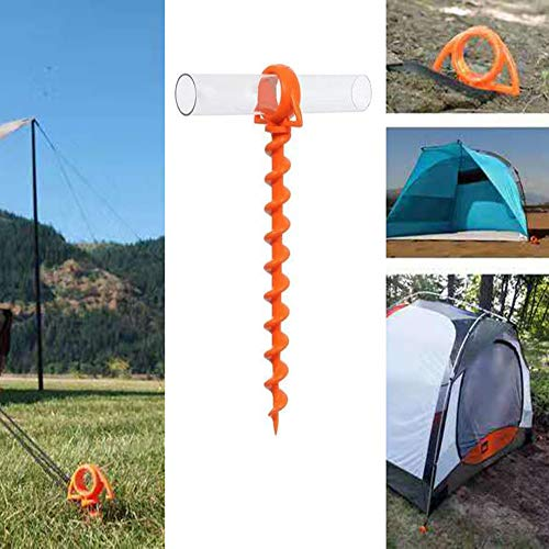 TuToy Plastic Spiral Screw Shape Tent Nail Hiking Camping Beach Tent Stakes Peg Nail W/Clear Tube For Outdoor Travel - Yellow