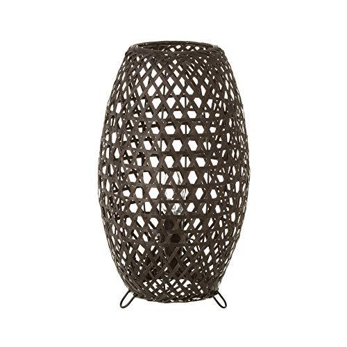 Lámpara de mesita de noche trenzada rústica de bambú negra de 35 cm - LOLAhome