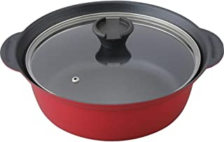 アイリスプラザ 両手鍋 ブラック レッド IH対応 フッ素コート