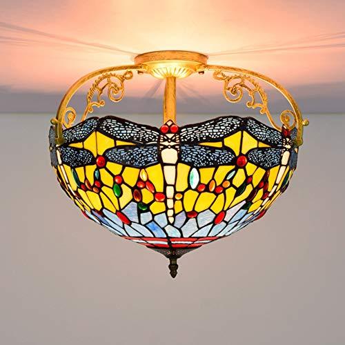 GUOGEGE Tiffany plafondlampen, glas in lood libelle stijl Semi Flush Mount plafond lamp Decor woonkamer slaapkamer keuken hal XT127