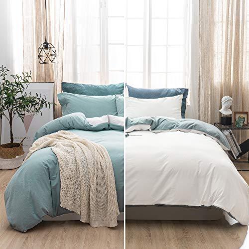SOULFUL Double Bedding Duvet Cover Set - Washed Cotton Duvet Cover Double Size 3PCS, Plain Reversible Duvet Cover Set with 2 Pillowcases, Zipper Closure(200x200cm, Light Blue/white)