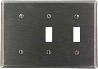 Leviton S214-N 3-Gang 2-Toggle, 1-Blank Device Combination Wallplate, Strap Mount, Stainless Steel