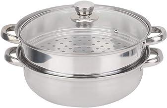 JADESHAY Cuiseur à Vapeur en Acier Inoxydable à 2 couches, pot à vapeur de soupe à double chaudière 27cm/11in