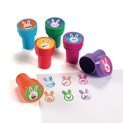 Palandi Kinderstempel lustige Hasen Osterhasen Emojis 6 Stück Mitgebsel Sticker