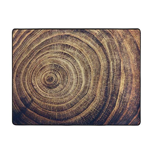 Oak Tree Stump with Annual Rings Carpet Living Room Area Rug Anti-Skid Floor Mat, Home Office Indoor Party Rugs with Non-Skid Rubber Multi-Purpose for Kids and Pets Playing 63X48 Inch