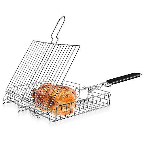 Manfore Grillkorb Fischbräter, Edelstahl BBQ Grillroste Grillzubehör, Tragbar Gemüsekorb Fischhalter mit Abnehmbar Griff, für Fisch, Gemüse, Shrimps, Steak, 31x25cm