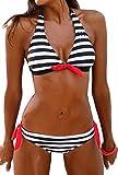 PANOZON Mujer Bikinis Sexy Traje de Baño Colgando al Cuello con Dos Colores Opcionales (Large, Negro-3)