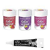 3 colorantes alimentarios con aromas de frambuesa, mora y fresa + tubo de glaseado negro