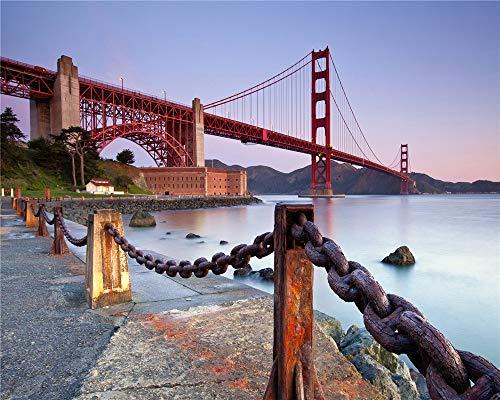 QAZZSF Malen Malen Nach Zahlen Für Erwachsene,DIY Malen Nach Zahlen Kits Für Kinder Anfänger Auf Leinwand,Golden Gate Bridge,San Francisco 40x50cm