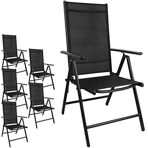 Multistore 2002 6 Stück Aluminium Gartenstuhl mit 2x2 Textilenbespannung, Lehne um 7 Positionen verstellbar, klappbar, Schwarz/Hochlehner Klappstuhl
