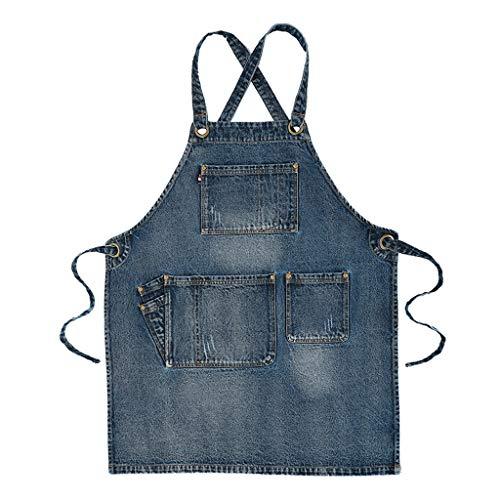 haoyuestory Delantal de 74 cm de largo, diseño de vaquero con bolsillos, ideal para mujeres, hombres, camareros, carpinteros, barberos.