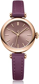 LZRDZSW Womens Analogue Quartz Watch with Leather Strap,Exquisite and Compact Ladies Watch for Women Ladies Girls,Student Waterproof Quartz Watch Easy-to-wear Design (Color : Purple)