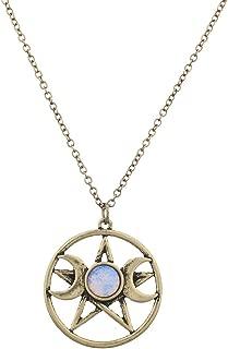 Lux Accessories Double Crescent Moon Pentagram Blue Opal Necklace