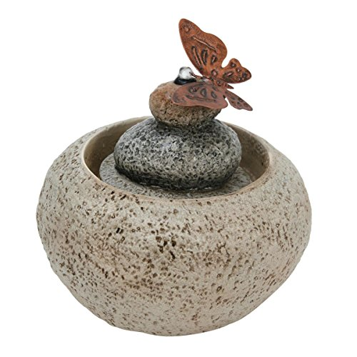 Foreside Home & Garden Butterfly On Rock Indoor Water Fountain with Pump