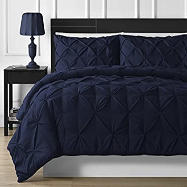 Comfy Bedding Double Needle Durable Stitching 3-piece Pinch Pleat Comforter Set All Season Pintuck Style (King, Navy Blue)