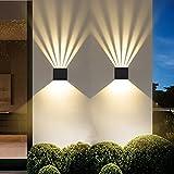 HCTAW 2 Pcs Aplique Pared Interior Impermeable IP65, 6W 3000K Blanco Cálido Apliques, Ángulo Del Haz Ajustable LED Apliques Pared Pared Dormitorio, Adecuado Para Salone, Dormitorio, Escalera, Pasillo