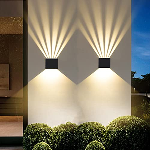 HCTAW 2 Pcs Aplique Pared Interior Impermeable IP65, 6W 3000K Blanco Cálido Apliques, Ángulo Del Haz Ajustable LED Apliques...