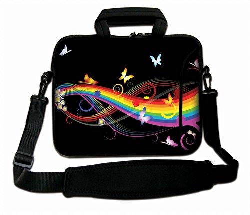 Luxburg Schultertasche, für Notebooks mit Bildschirmdiagonale von 10 Zoll (25,4cm), weich, mit Griff, Design: Schmetterlinge & Regenbogen