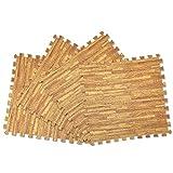 WEIMALL ジョイントマット 約6畳 32枚セット 大判 60cm 1cm厚 サイドパーツ付き 防音 抗菌 床暖房対応 ノンホルムアルデヒド フロアマット (木目調ベージュ)