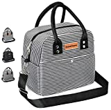 Insulated Lunch Bag Leakproof Portable Cooler Lunch Bag Adjustable Shoulder Strap Insulated Tote Bag Reusable Lunch Bag for School Office Work Picnic-Thermal Lunch Box for Women Men Adults Kids-Stripe