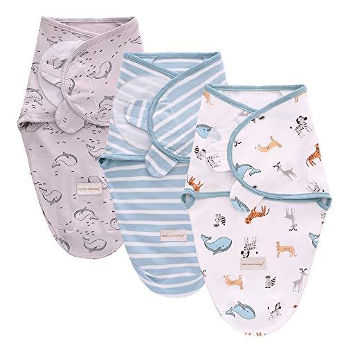 3PC Swaddle Blanket,Swaddle Wrap Manta Envolvente para Bebé,Swaddle Wrap 100% Algodón,Mantas Arrullo Para Recién Nacidos-S