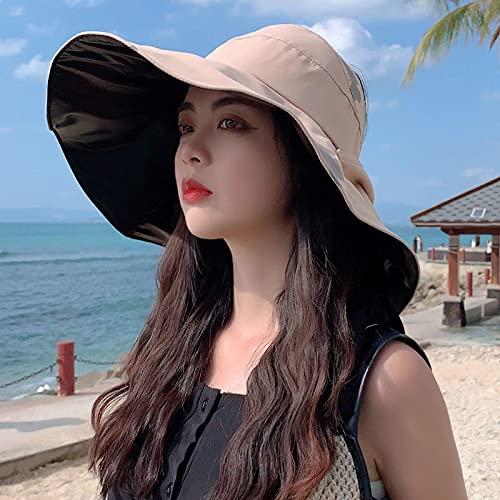 WXRJL Gran ala para Cubrir Tu Cara Verano Grande A Lo Largo Sombrero De Pescador Mujer Verano Todo-Fósforo Sombrilla Moda Sombrero para El Sol Caqui