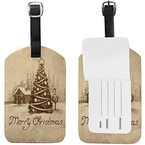Retro Winterlandschaft Weihnachtsbaum Nette Gepäckanhänger PU Leder Doppelseitiger Druck Reisetasche Koffer Identifikatoren
