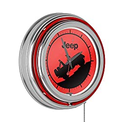 Trademark Global Neon Wall Clock-Jeep Red Silhouette Double Rung Analog Clock with Pull Chain-Pub, Garage, or Man Cave Accessories (Red)
