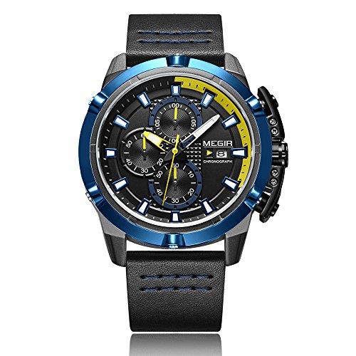 MEGIR Men's Fashion Water-resistant Sport Quartz Watch Uuomo Orologio da Polso di Quarzo Sportivo Casuale 3ATM Impermeabile Luminoso/Secondario/Cronimetro/Ore/Microsecondo/Calendario Scatola Originale