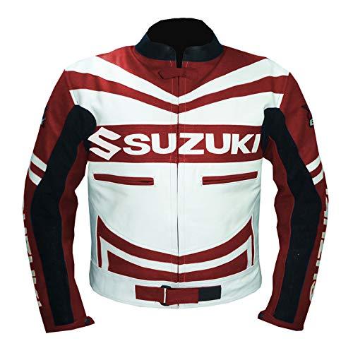 GSXR SUZUKI 4313 - Giacca da moto in pelle di vacchetta rossa