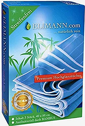 Elimann® Bambus Tuch Premium Hochglanz Reinigung Set für Fenster/Glas/Spiegel/Scheiben/Besteck/Brillen/Autos/Bad/Möbel STREIFENFREIEN FUSSELFREIEN Glanz 3 X 40x50 cm