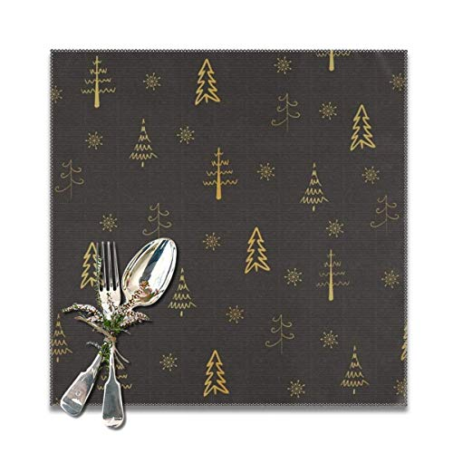 Merry Christmas Golden Xmas Tree On Black Placemats Set of 4 for Dining Table Heat Resistant Table Mat Washable Non Slip Large Fabric Coffee Kitchen Square Plate Mat Personalized Decorative