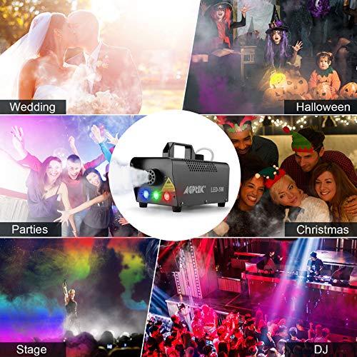 Nebelmaschine, AGPtEK Nebel Maschine mit kabelloser Fernbedienung UND aktiviertes LED Licht, 500 WATT Stabil & Tragbar, Passend für Halloween, Weihnachten, Hochzeitsfeiern & Bühnenauftritte usw - 3
