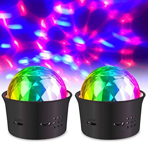 Bonlux Discokugel 5V Partylicht Mini Disco Lichteffekte RGB Partylicht Stimmgesteuertes USB Stimmungslicht für Kinder Zimmer Party 2Stück
