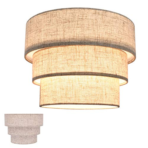 HUOKU Lamp Shades for Floor Lamps,Pendant Lighting and Chandelier Replacement,3-Tier Drum Fabric Lampshade with Natural Linen Handcrafted,Clip on Bulb Shade(Brown)
