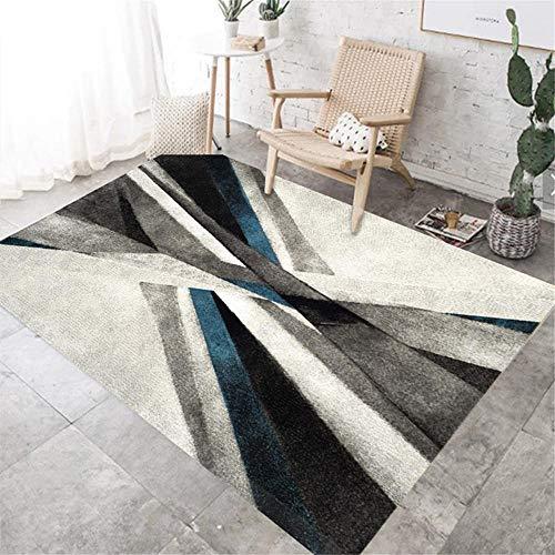 RUGYUW Alfombra Salon Grande Diseñador Moderno Azul Gris Negro,Salón sofá Dormitorio Comedor Cocina baño Suelo algombra (4'7''X6'7''ft)