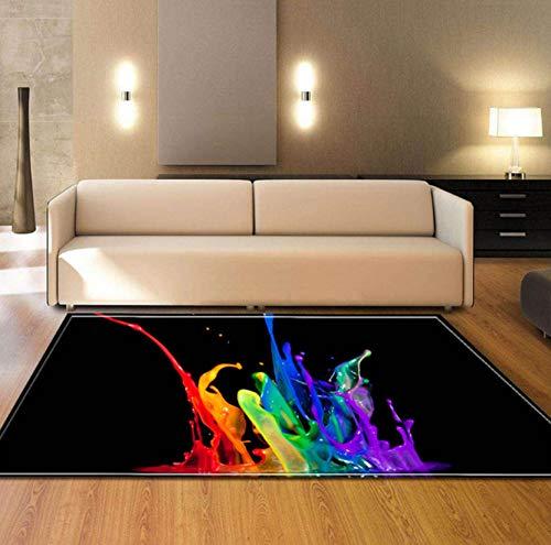 Teppich Persönlichkeit 3D Bunte Wasserdruck Polyester Textil Wohnzimmer Sofa Fläche Quadrat Teppich 120cmx170cm