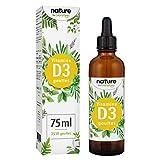 Vitamine D3 en Gouttes 75ml - 10.000 UI 10 Gouttes pour Dosage Flexible - Vitamine D Liquide pour le Système Immunitaire - Vit D3 Cholécalciférol pour les Os, les Muscles et les Dents Solides
