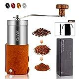 SULIVES 手挽き コーヒーミル コーヒー ステンレス製 珈琲 小型 アウトドア 20G 1~3人分 イエロー