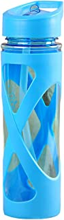 YOTHG 580ml Leakproof and Anti-Fall Water Bottle/Space Cup,with Straw,BPA Free and Protective Silicone Sleeve,Use for Both Outdoor and Indoor(Height: 23cm, Diameter: 6.5cm,Blue)