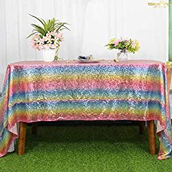 Rainbow Rectangular Sequin Tablecloth