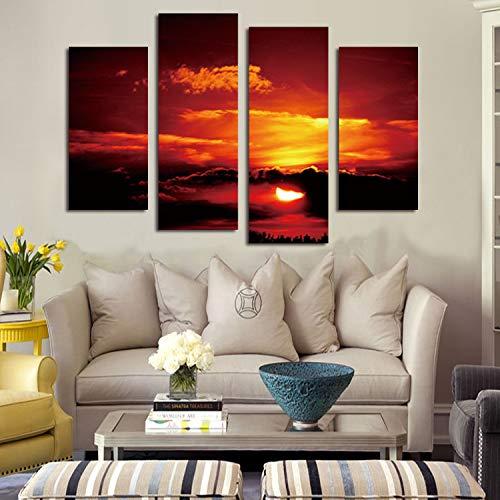 WSNDGWS HD Pintura Decorativa de inyección de Tinta Cuatro Nubes Rojas del Sol en el Paisaje Tibetano Lienzo sin Marco Lienzo Pintura Núcleo Sin Marco E2 30x60cmx2 30x80cmx2