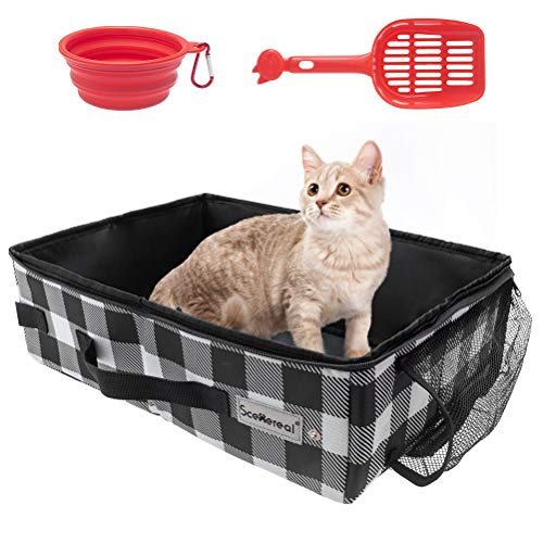 SCENEREAL Cat Travel Litter Box with Bowl & Scoop, Collapsible Portable Cat Litter Box, Foldable Feeding Bowl and Scoop for Free, Travel Litter Box for Cats Lightweight Waterproof