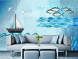 Personalizado Papel Pintado 3d Pared Barco De Pescado Mediterráneo Estilo Marinero Fotomural fondo Salón Dormitorio Despacho Pasillo Decoración Murales Paredes 350cmX256cm