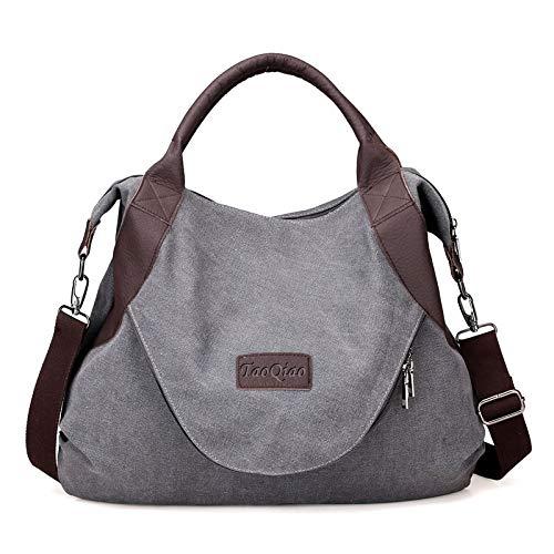 xiaoxiongmao Large Pocket Casual Women's Shoulder Cross body Handbags Canvas Leather Bags Grey