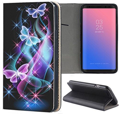 Samsung Galaxy S3 / S3 Neo Hülle Premium Smart Einseitig Flipcover Hülle Samsung S3 Neo Flip Case Handyhülle Samsung S3 Motiv (401 Schmetterling Blau Pink Schwarz)