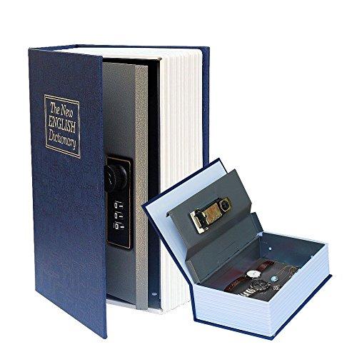 Jeasun Book English Dictionary Secret Hidden Cash Money box gioielli di sicurezza con serratura a combinazione, taglia S (blu)