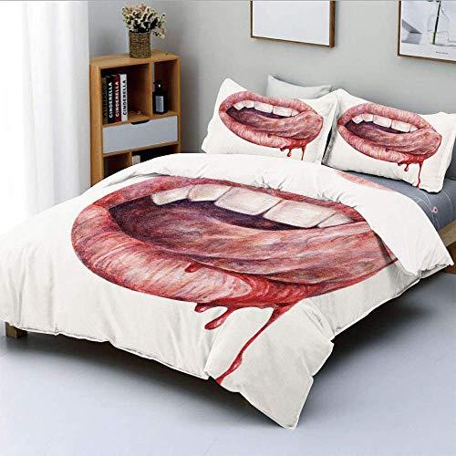 Juego de funda nórdica, boca de vampiro sexy lamiendo sangre, dientes caninos, sabor, dibujo en acuarela, ilustraciones decorativas, juego de cama de 3 piezas con 2 fundas de almohada, rojo coral blan